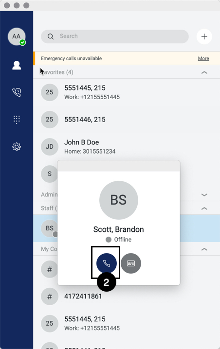 Contact window for the Anywhere Connect for Desktop is shown with the contacts call functions shown. The call icon is highlighted. - Image opens in full resolution in a new tab