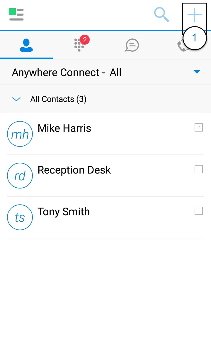 Contacts Screen of the Anywhere Connect Android App with the Plus or add contact icon highlighted. - Image opens in full resolution in a new tab