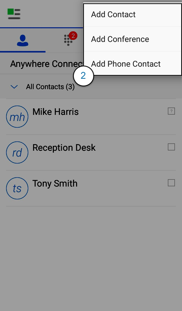 Contacts Screen of the Anywhere Connect Android App with add a contact dialog box highlighted. Add Contact, Add Conference and Add Android Contact are shown. - Image opens in full resolution in a new tab