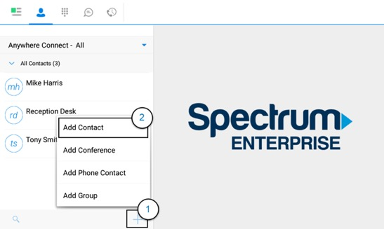 Contacts Screen of the Anywhere Connect Android App for tablets with add a contact dialog box highlighted. Add Contact, Add Conference and Add Android Contact are shown. - Image opens in full resolution in a new tab