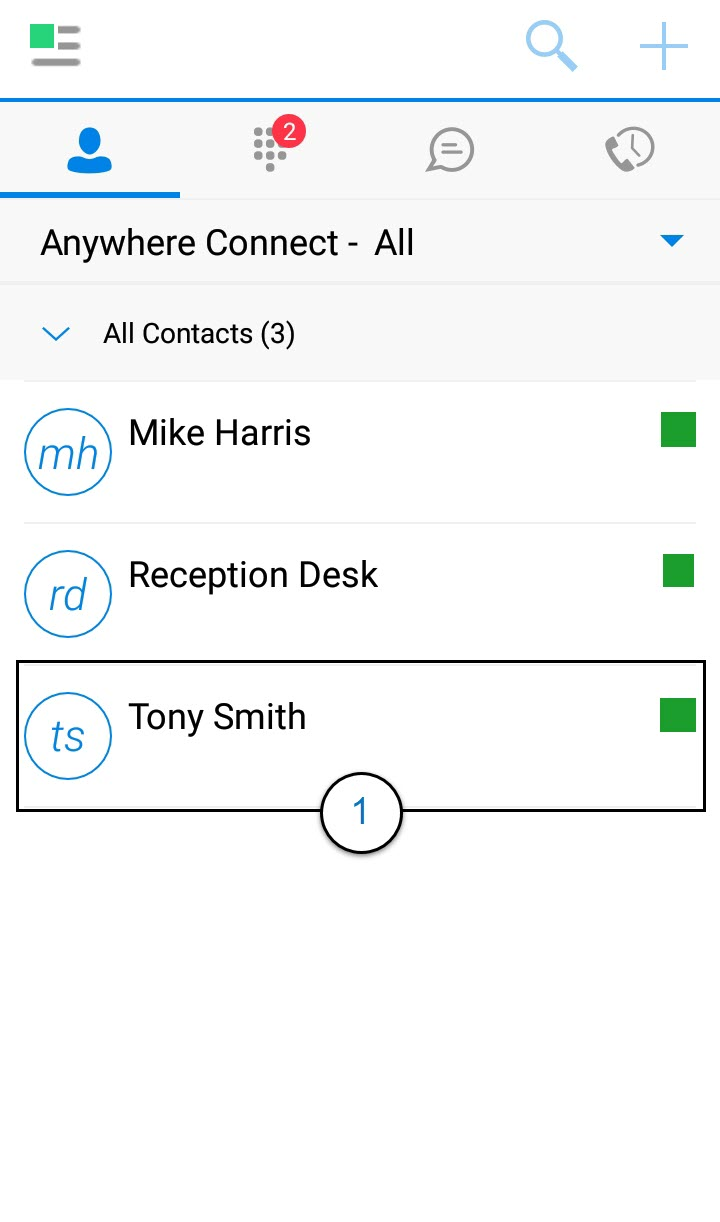 Contacts Screen of the Anywhere Connect Android App with Tony Smith, a contact, Highlighted. - Image opens in full resolution in a new tab