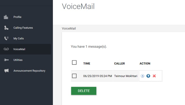 Image of the Voicemail section within the End User Portal. - Image opens in full resolution in a new tab