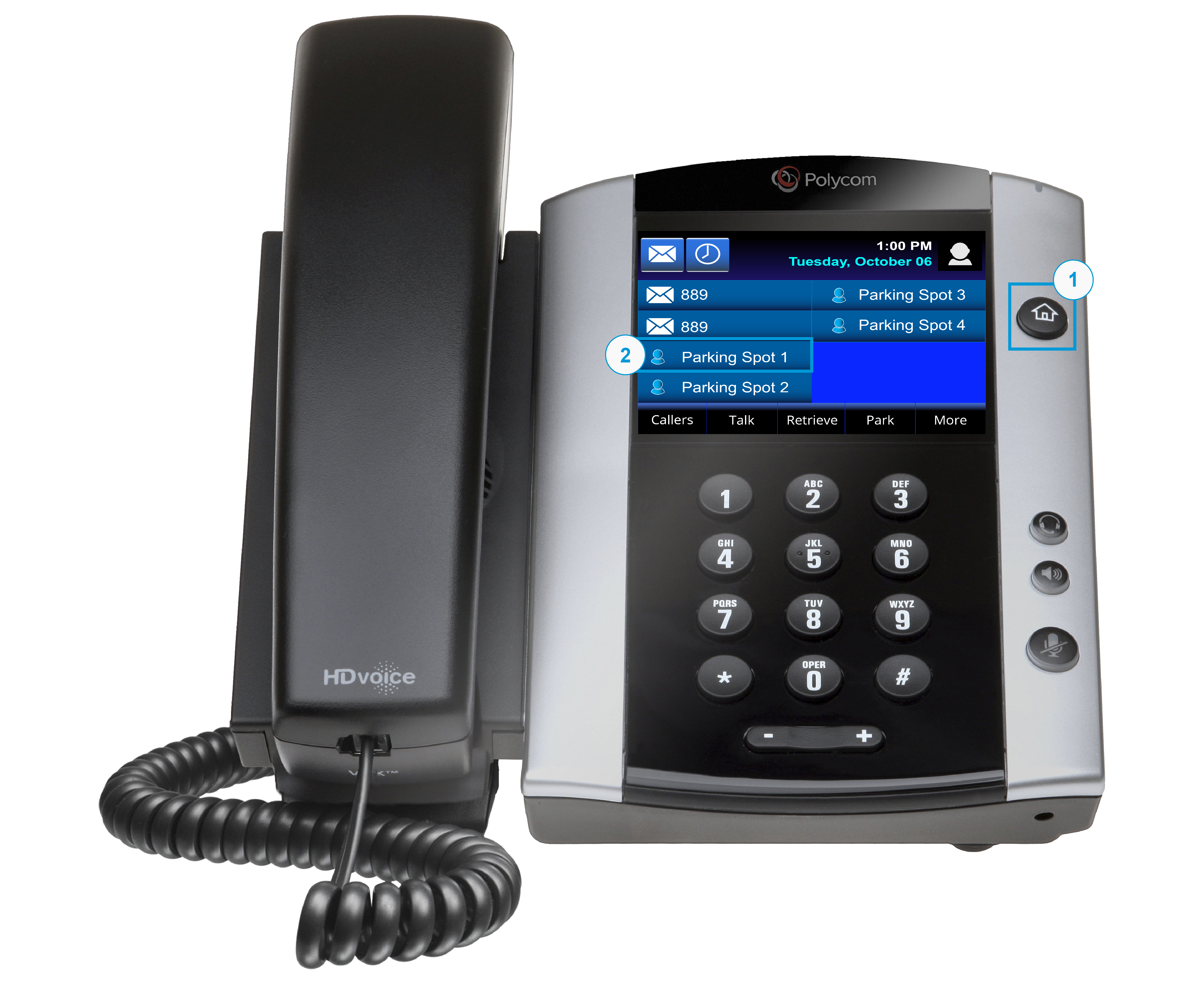 Image showing the Polycom VVX 501 with the Home button and Parking Spot highlighted. - Image opens in full resolution in a new tab.