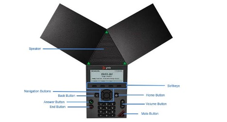 An image of the Polycom TRIO 8300 conference phone with the feature keys highlighted and labeled. - Image opens in full resolution in a new tab.