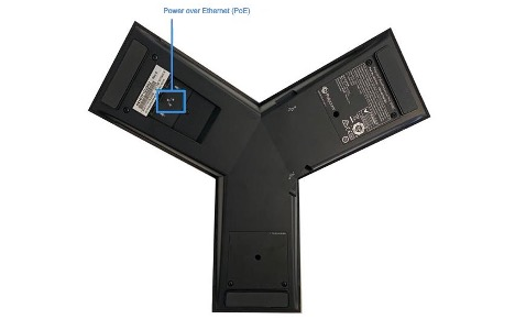 Alt: An image of the back of the Polycom TRIO 8300 conference phone with the feature keys highlighted and labeled. - Image opens in full resolution in a new tab.