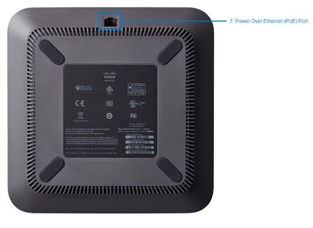 This is the bottom view of the Cisco 7832 desktop phone highlighting key ports to use on your conference phone. - . Image opens in full resolution in a new tab
