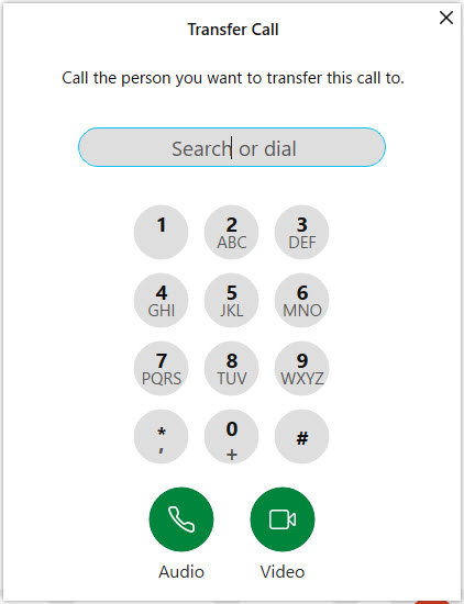 Webex app Transfer Call dialpad window. Image opens in full resolution in a new tab.