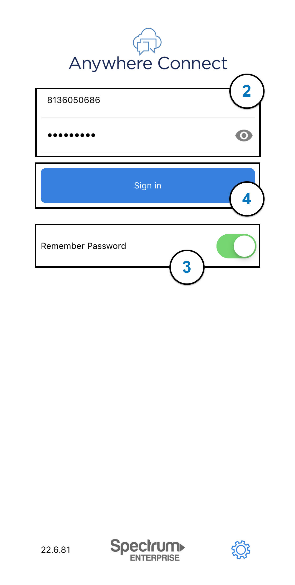 Sign In button is highlighted on Spectrum Enterprise login screen with user name and password fields. Image opens in full resolution in a new tab.