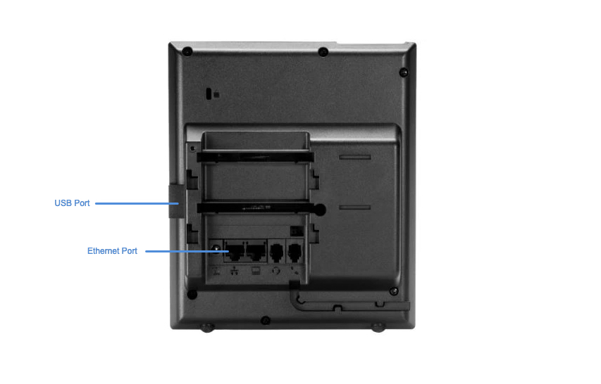 An image of the back of the Polycom VVX 250 desktop phone with ports highlighted and labeled. Image opens in full resolution in a new tab.