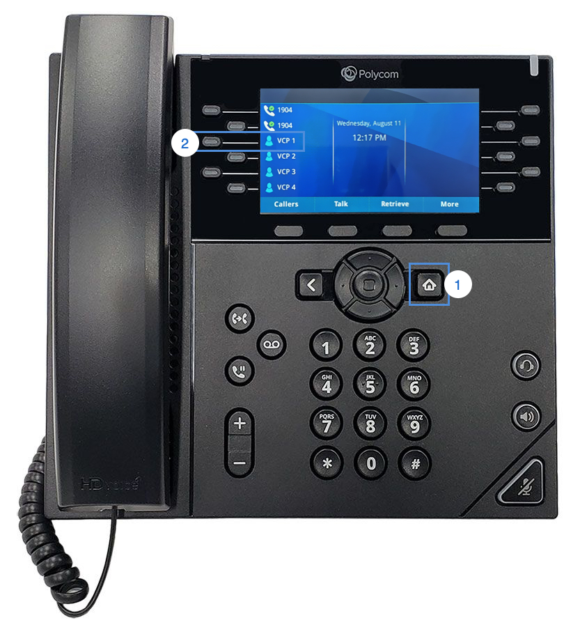 This image shows the front view of the Polycom VVX 450 with the one-line key highlighted for visual cal park. - Image opens in full resolution in a new tab.