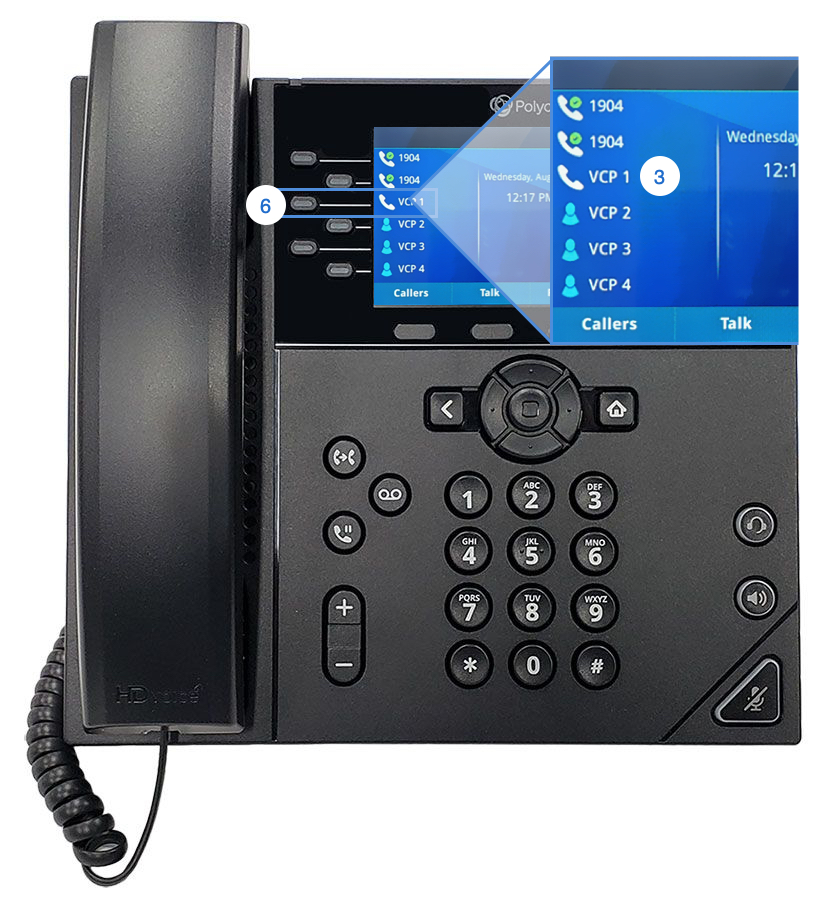 This image shows the front view of the Polycom VVX 450 with the visual car park highlighted. - Image opens in full resolution in a new tab.