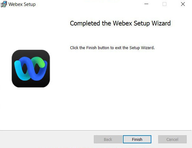 WebexSetup Wizard pop-up window with Finish highlighted. Image opens in full resolution in a new tab.