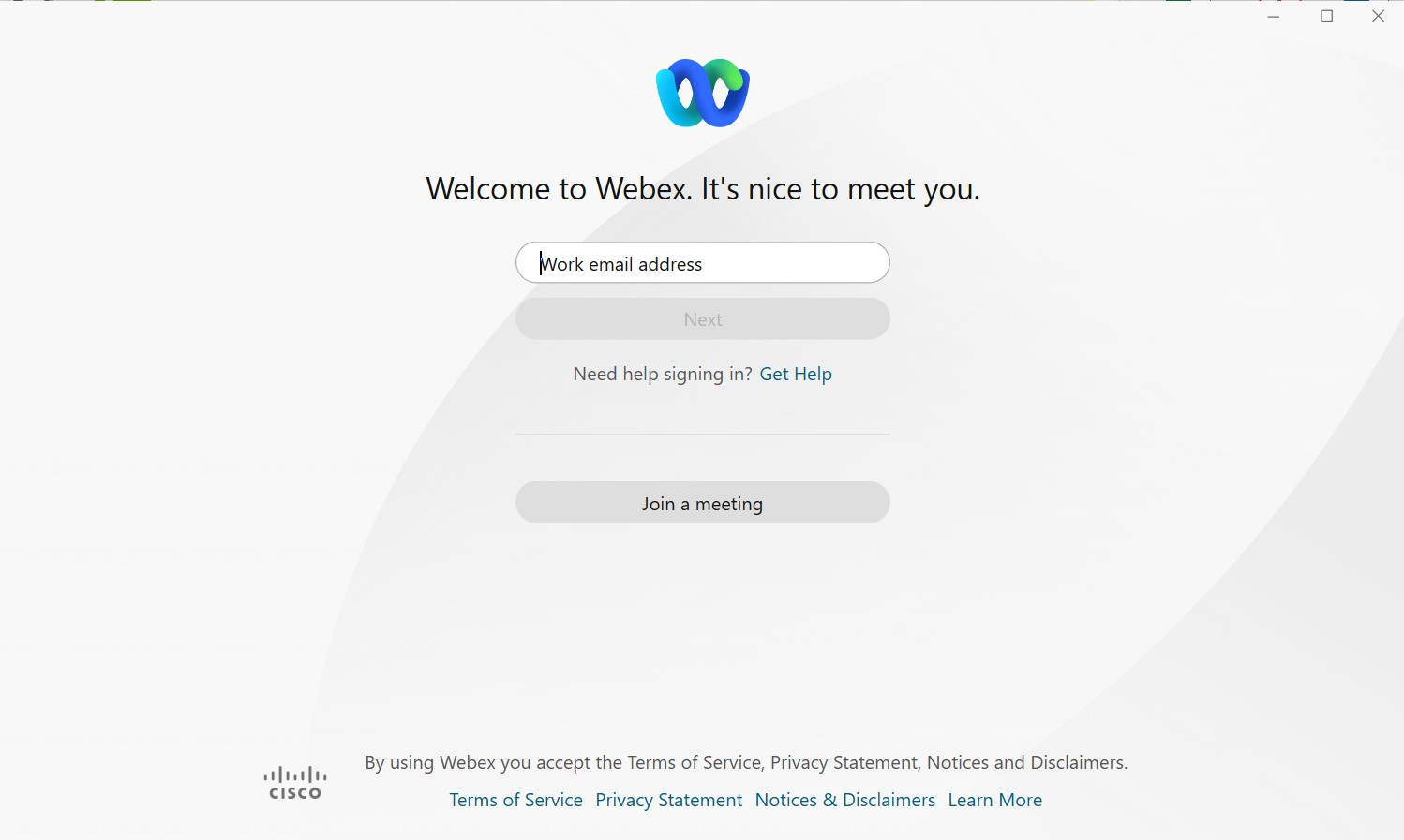 Webex desktop client sign-in screen requesting Work email address. Image opens in full resolution in a new tab.